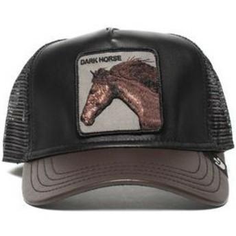 Gorra trucker negra y marrón caballo Your Majesty de Goorin Bros.