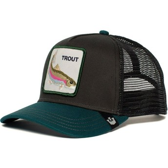 Gorra trucker negra y verde trucha Rainbow Trout de Goorin Bros.