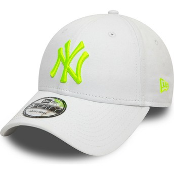 Gorra curva blanca ajustable con logo verde 9FORTY League Essential Neon de New York Yankees MLB de New Era