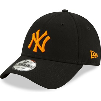 Gorra curva negra ajustable con logo naranja 9FORTY League Essential Neon de New York Yankees MLB de New Era