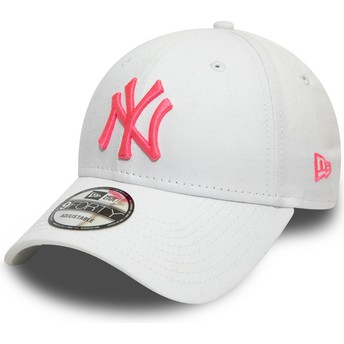 Gorra curva blanca ajustable con logo rosa 9FORTY League Essential Neon de New York Yankees MLB de New Era