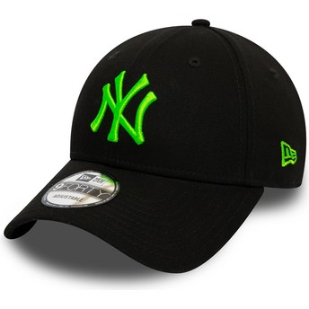 Gorra curva negra ajustable con logo verde 9FORTY League Essential Neon de New York Yankees MLB de New Era