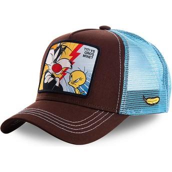 Gorra trucker marrón y azul Silvestre Vs Piolín TVG1 Looney Tunes de Capslab