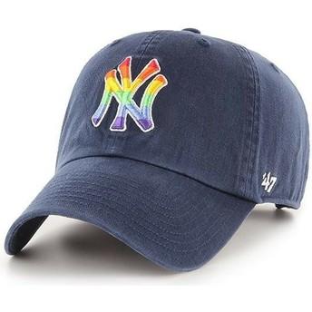Gorra curva azul marino ajustable de New York Yankees MLB Clean Up Pride de 47 Brand