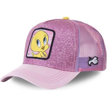 Gorra trucker rosa purpurina Piolín TWE4 Looney Tunes de Capslab
