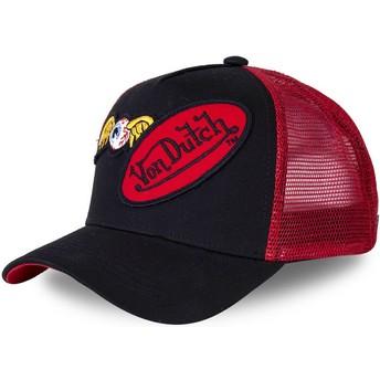 Gorra trucker negra y roja DBLPAT de Von Dutch