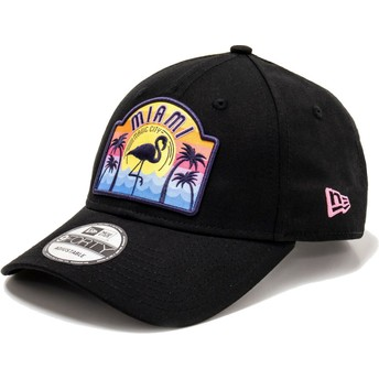 Gorra curva negra ajustable 9FORTY USA Patch Miami de New Era