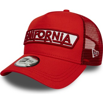 Gorra trucker roja A Frame USA Patch California de New Era