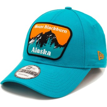 Gorra curva azul ajustable 9FORTY USA Patch Alaska Mount Blackburn de New Era
