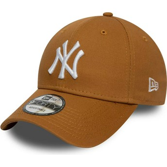 Gorra curva marrón trigo ajustable 9FORTY League Essential de New York Yankees MLB de New Era