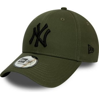 Gorra curva verde ajustable con logo negro 9FORTY League Essential de New York Yankees MLB de New Era