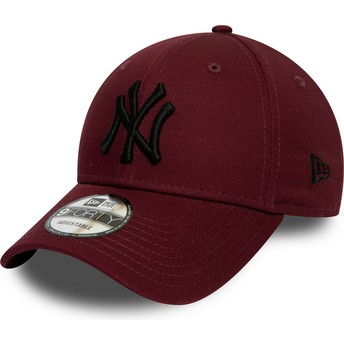 Gorra curva granate ajustable con logo negro 9FORTY League Essential de New York Yankees MLB de New Era