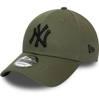 Gorra curva verde ajustable con logo negro 9FORTY Essential de New York Yankees MLB de New Era