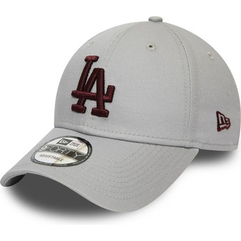 Gorra curva gris ajustable con logo granate 9FORTY Essential de Los Angeles Dodgers MLB de New Era
