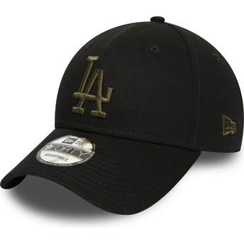 Gorra curva negra ajustable con logo verde 9FORTY Essential de Los Angeles Dodgers MLB de New Era