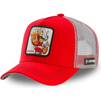 Gorra trucker roja y blanca Seiya de Pegaso PEG1 Saint Seiya: Los Caballeros del Zodiaco de Capslab