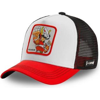 Gorra trucker blanca, negra y roja Seiya de Pegaso PEG2 Saint Seiya: Los Caballeros del Zodiaco de Capslab