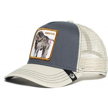 Gorra trucker gris y blanca babuino Buthead de Goorin Bros.