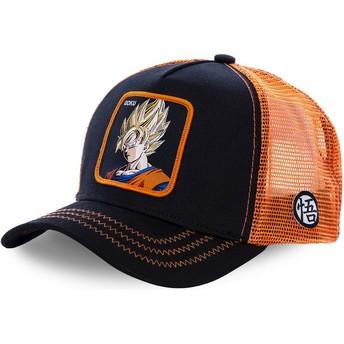 Gorra trucker negra y naranja para niño Son Goku Super Saiyan KID_GO3 Dragon Ball de Capslab