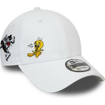 Gorra curva blanca ajustable 9FORTY Silvestre y Piolín Looney Tunes Chase de New Era