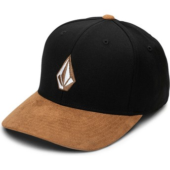 Gorra curva negra ajustada con visera marrón Full Stone Hthr Xfit Asphalt Black de Volcom