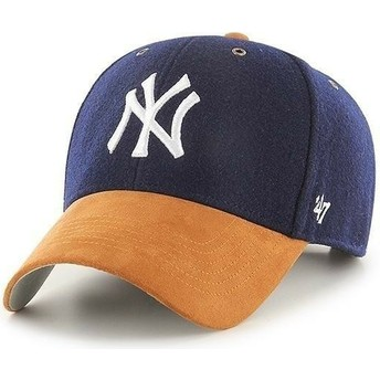 Gorra curva azul marino ajustable con visera marrón MVP Willowbrook de New York Yankees MLB de 47 Brand