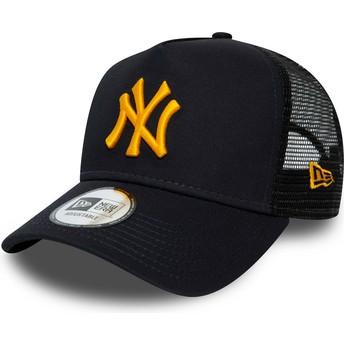 Gorra trucker azul marino con logo naranja League Essential A Frame de New York Yankees MLB de New Era