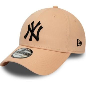 Gorra curva rosa claro ajustable con logo negro 9FORTY League Essential de New York Yankees MLB de New Era