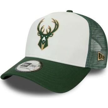 Gorra trucker blanca y verde Team Colour Block A Frame de Milwaukee Bucks NBA de New Era