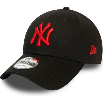 Gorra curva negra ajustable con logo rojo 9FORTY League Essential de New York Yankees MLB de New Era