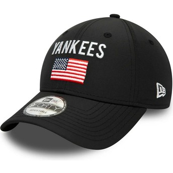 Gorra curva negra ajustable 9FORTY Team Flag de New York Yankees MLB de New Era