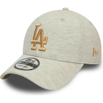 Gorra curva beige con logo dorado 9FORTY Jersey Essential de Los Angeles Dodgers MLB de New Era