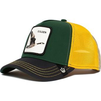 Gorra trucker verde, negra y amarilla ganso Golden Goose de Goorin Bros.