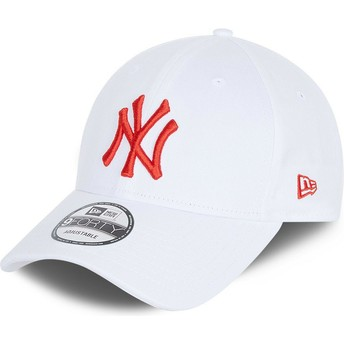 Gorra curva blanca ajustable con logo rojo 9FORTY League Essential de New York Yankees MLB de New Era