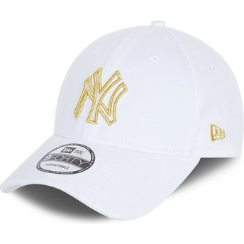 Gorra curva blanca ajustable 9FORTY Metallic Logo de New York Yankees MLB de New Era