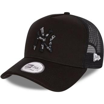Gorra trucker negra con logo camuflaje negro InFill A Frame de New York Yankees MLB de New Era