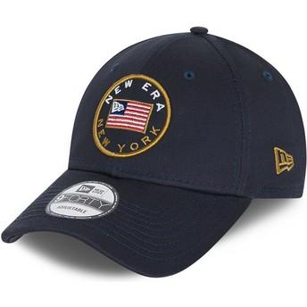 Gorra curva azul marino ajustable 9FORTY USA Flag de New Era