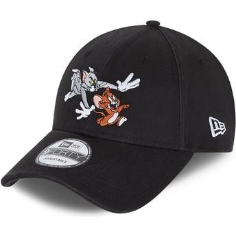 Gorra curva negra ajustable 9FORTY Tom y Jerry Looney Tunes de New Era