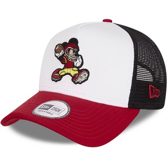 Gorra trucker blanca, negra y roja Character Sports A Frame Mickey Mouse American Football Disney de New Era