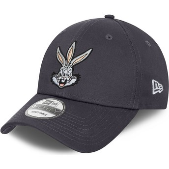 Gorra curva gris ajustable 9FORTY Bugs Bunny Looney Tunes de New Era