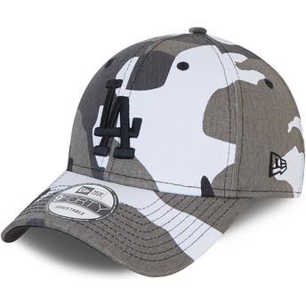 Gorra curva camuflaje negro ajustable con logo negro 9FORTY de Los Angeles Dodgers MLB de New Era