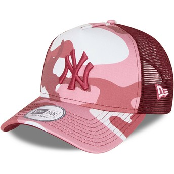 Gorra trucker camuflaje rosa con logo rosa A Frame de New York Yankees MLB de New Era