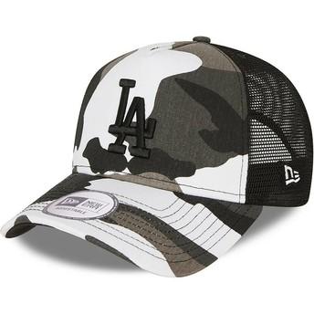 Gorra trucker camuflaje negro con logo negro A Frame de Los Angeles Dodgers MLB de New Era