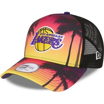 Gorra trucker violeta A Frame Summer City de Los Angeles Lakers NBA de New Era
