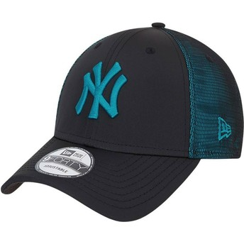 Gorra curva negra y azul ajustable con logo azul 9FORTY Mesh Underlay de New York Yankees MLB de New Era