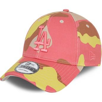Gorra curva camuflaje rosa ajustable con logo rosa 9FORTY de Los Angeles Dodgers MLB de New Era