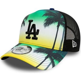 Gorra trucker verde con logo negro A Frame Summer City de Los Angeles Dodgers MLB de New Era