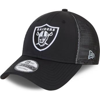 Gorra curva negra ajustable 9FORTY Mesh Underlay de Oakland Raiders NFL de New Era