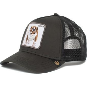 Gorra trucker negra perro bulldog Butch Brutus Drake The Farm de Goorin Bros.