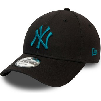 Gorra curva negra ajustable con logo azul 9FORTY League Essential de New York Yankees MLB de New Era